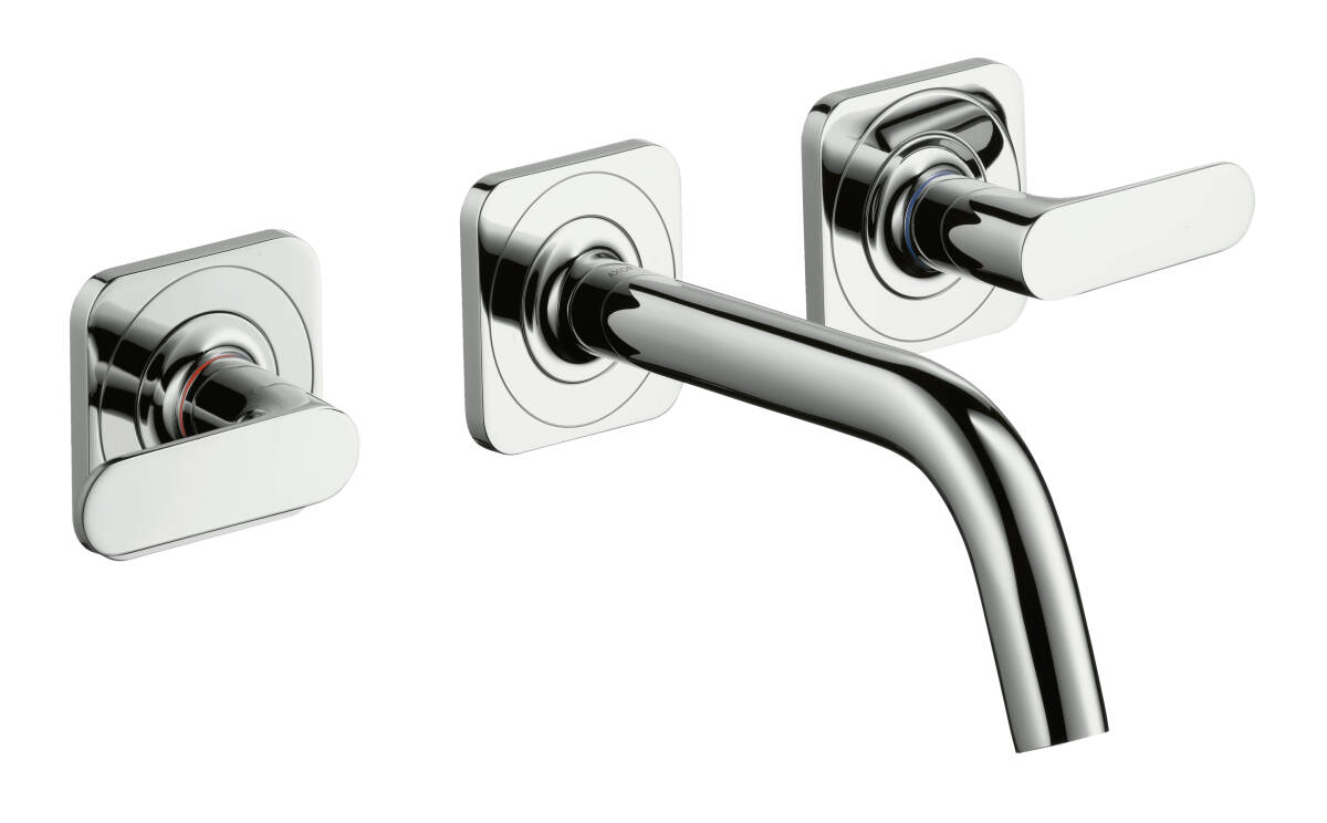 3-hole basin mixer for concealed installation with spout 166 mm, lever handles and escutcheons wall-mounted, Brushed Bronze, 34313140