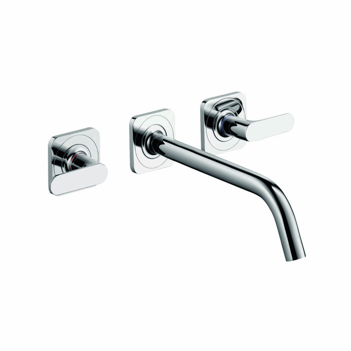 3-hole basin mixer for concealed installation with spout 226 mm, lever handles and escutcheons wall-mounted, Brushed Nickel, 34315820