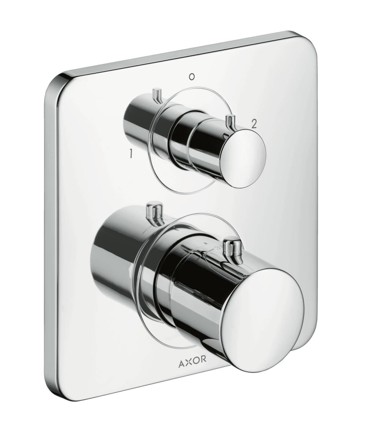 Thermostat for concealed installation with shut-off/ diverter valve, Brushed Black Chrome, 34725340
