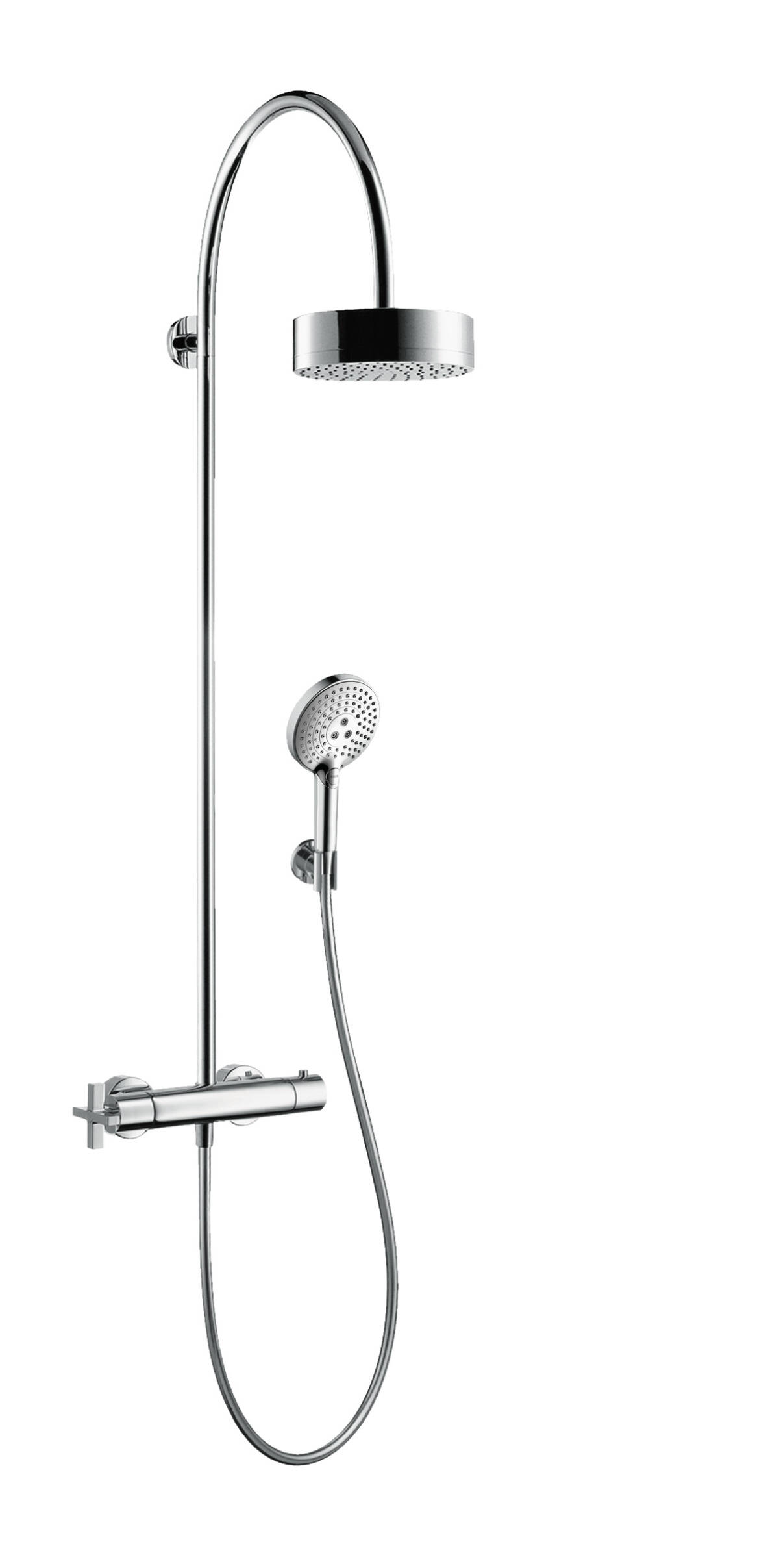 Showerpipe with thermostat and overhead shower 180 1jet, Chrome, 39670000