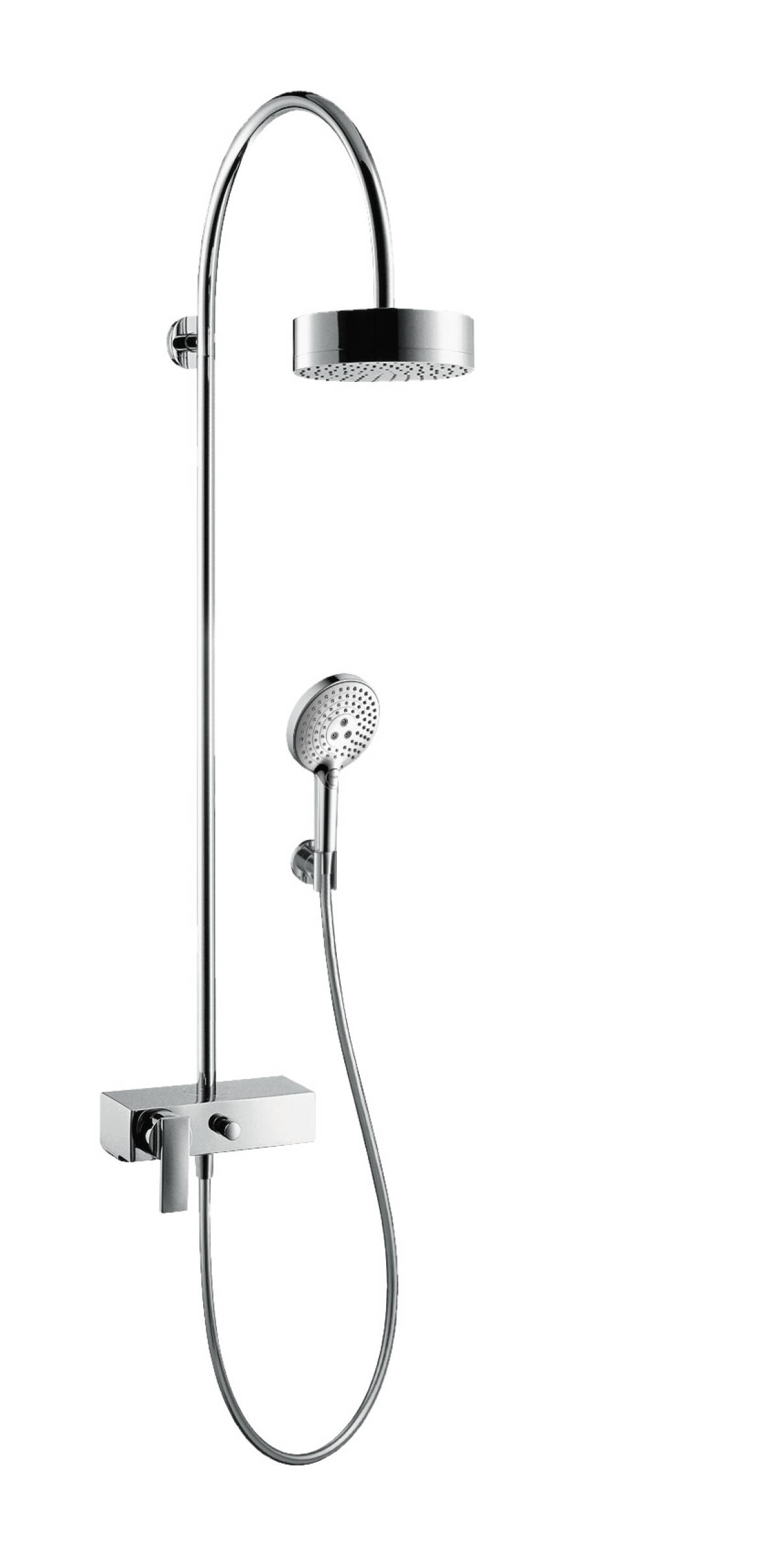 Showerpipe with single lever mixer and overhead shower 180 1jet, Brushed Bronze, 39620140