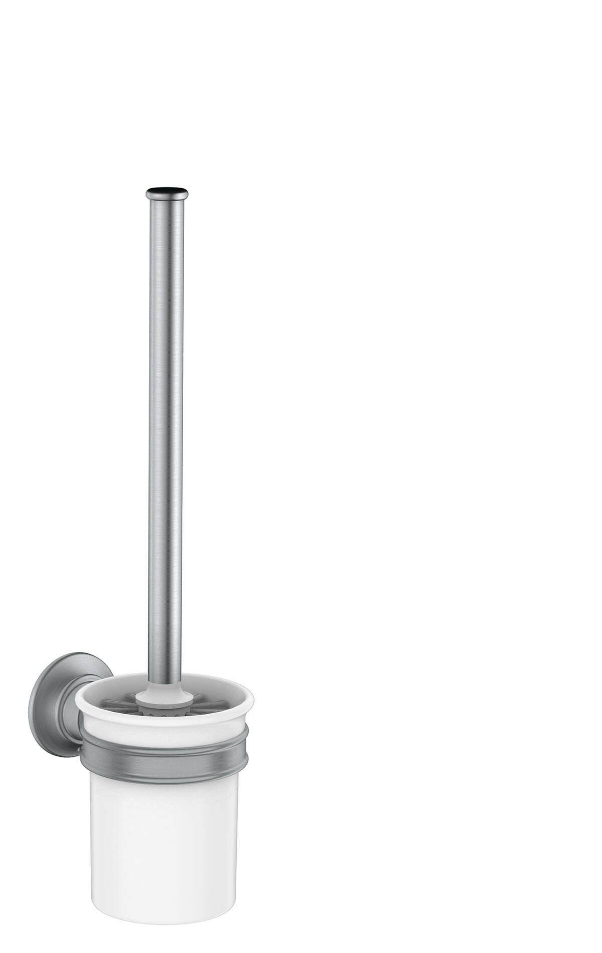 Toilet brush holder wall-mounted, Brushed Chrome, 42035260