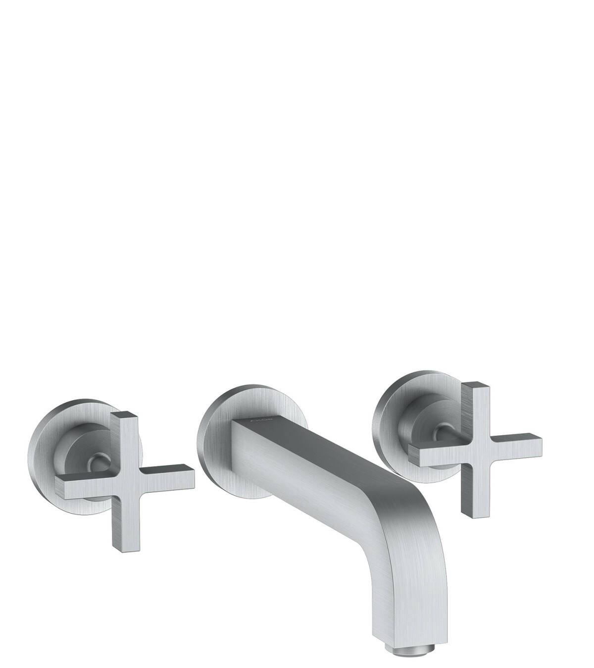 3-hole basin mixer for concealed installation wall-mounted with spout 222 mm, cross handles and escutcheons, Brushed Chrome, 39143260