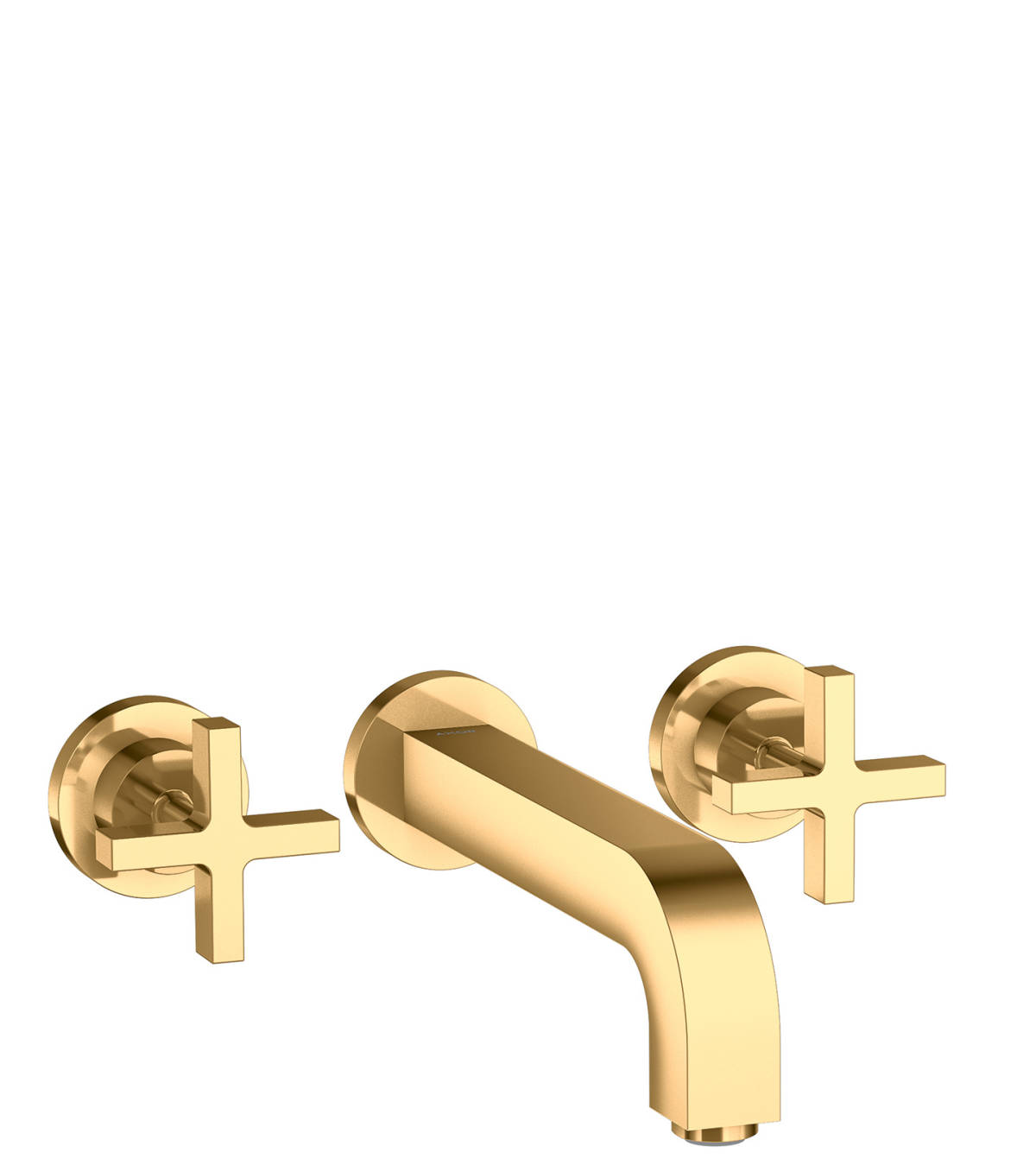 3-hole basin mixer for concealed installation wall-mounted with spout 222 mm, cross handles and escutcheons, Polished Brass, 39143930