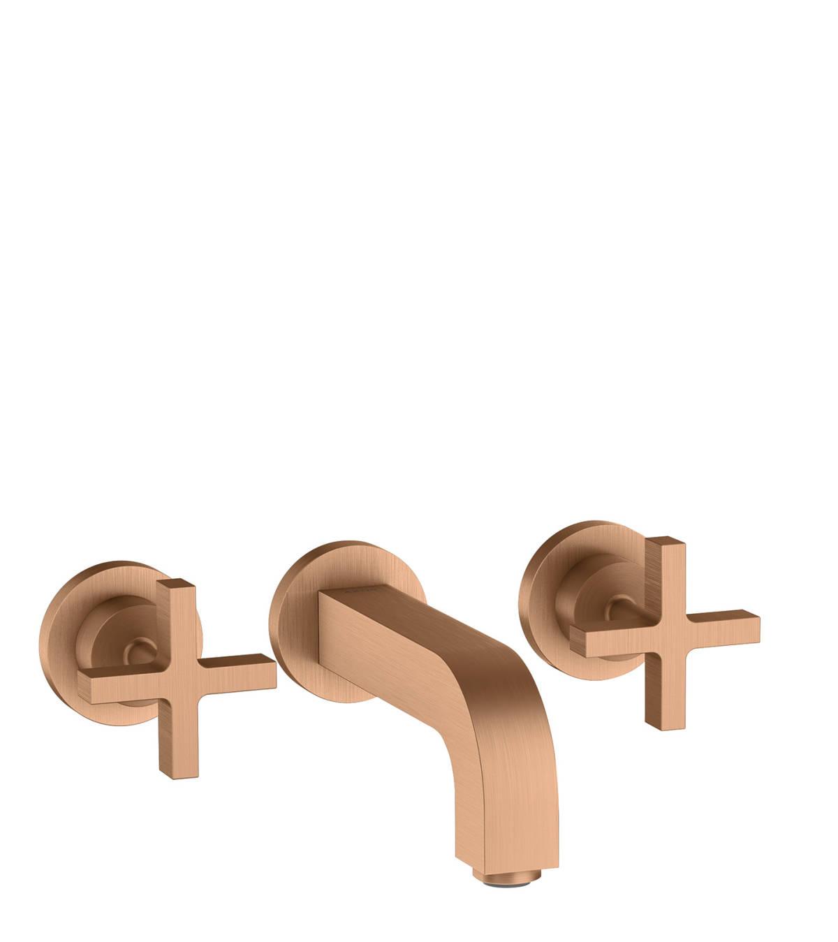 Grifería de lavabo empotrada de 3 agujeros con caños 162 mm y manecillas de cruceta, bronce cepillado, 39313140