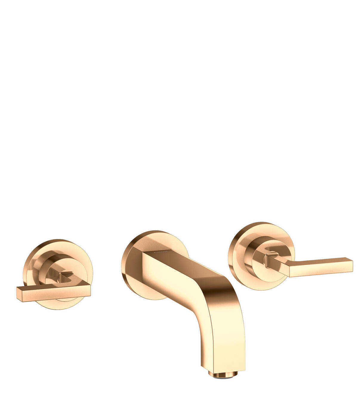 3-hole basin mixer for concealed installation with spout 162 mm, lever handles and escutcheons wall-mounted, Polished Bronze, 39315130