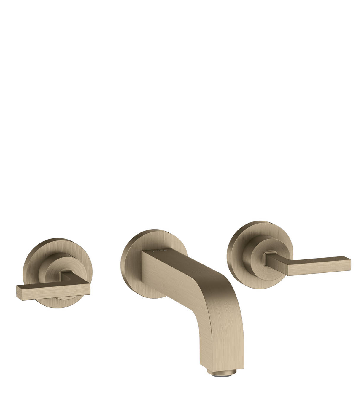 3-hole basin mixer for concealed installation wall-mounted with spout 162 mm, lever handles and escutcheons, Brushed Nickel, 39315820