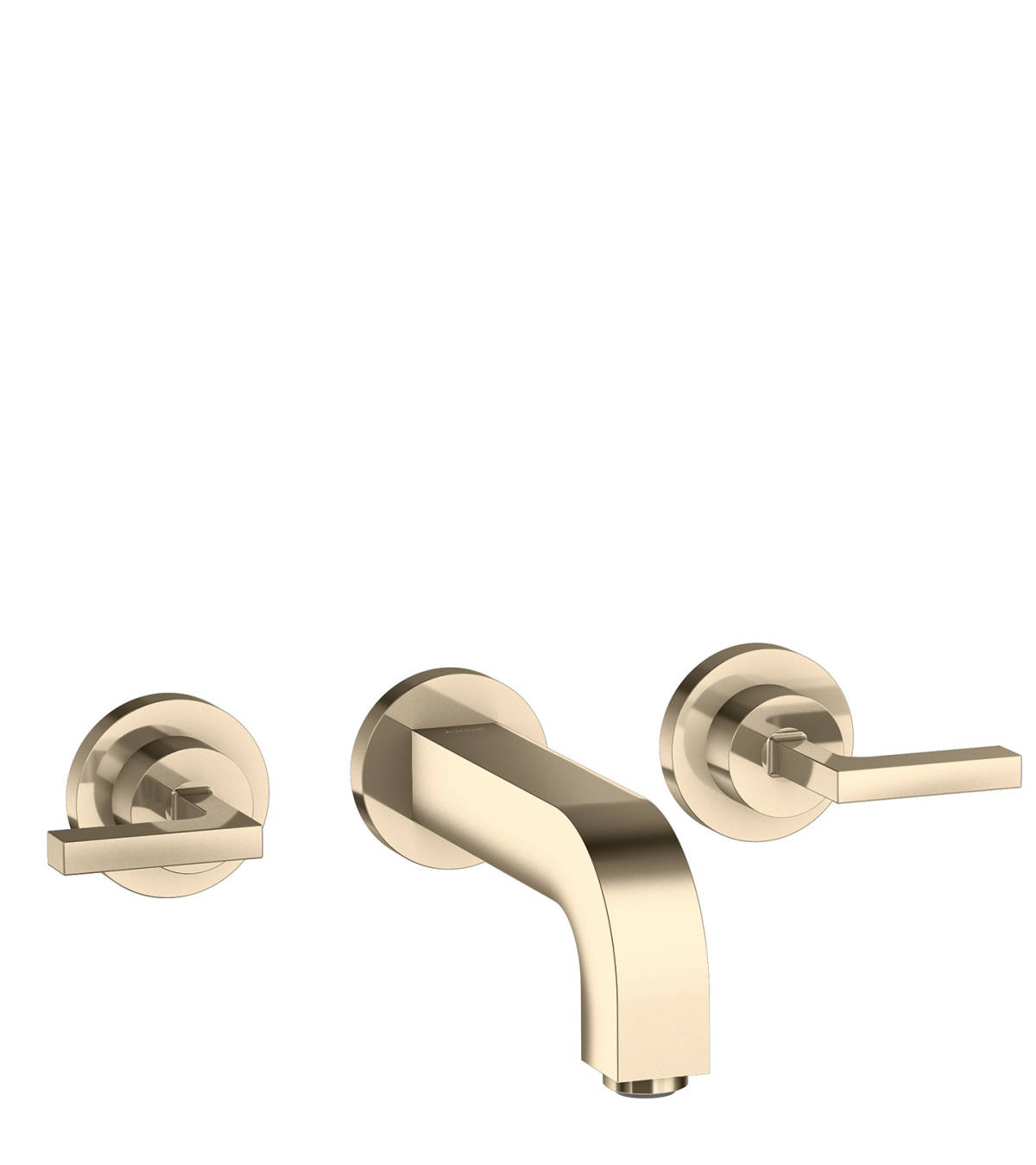 3-hole basin mixer for concealed installation wall-mounted with spout 162 mm, lever handles and escutcheons, Polished Nickel, 39315830