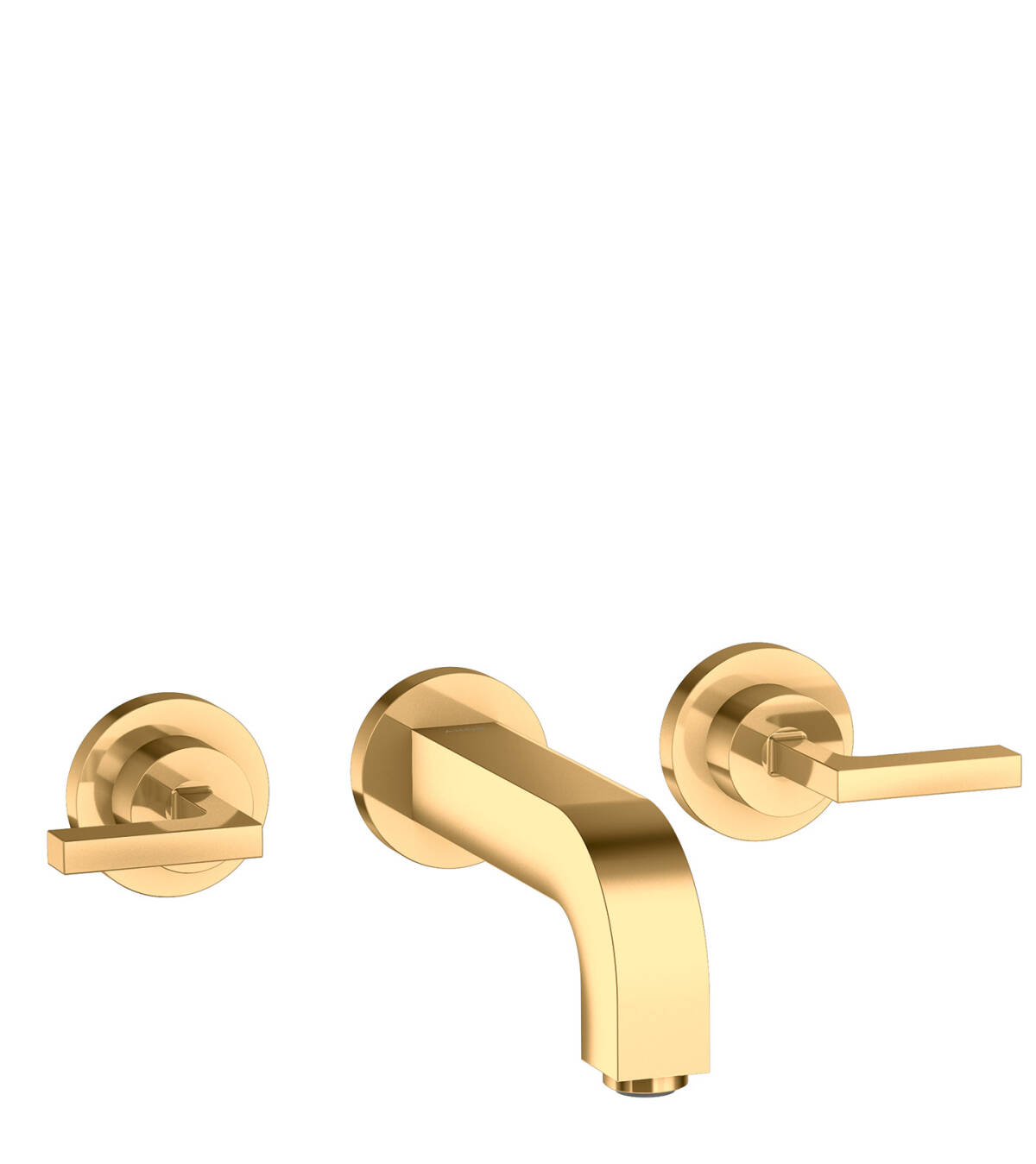 3-hole basin mixer for concealed installation with spout 162 mm, lever handles and escutcheons wall-mounted, Polished Brass, 39315930