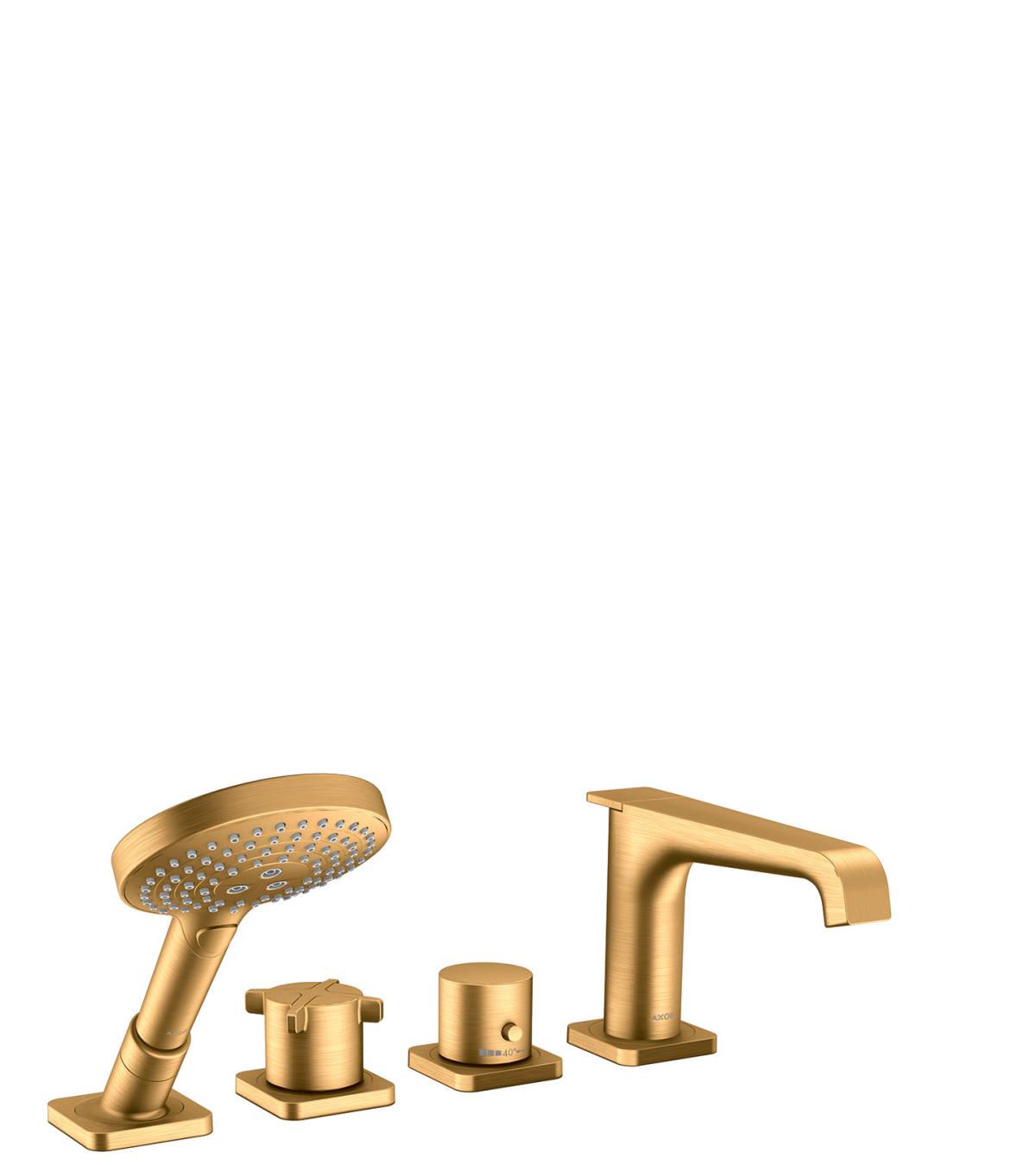 Grifería termostática de 4 agujeros para montaje sobre borde de bañera, color oro cepillado, 36411250