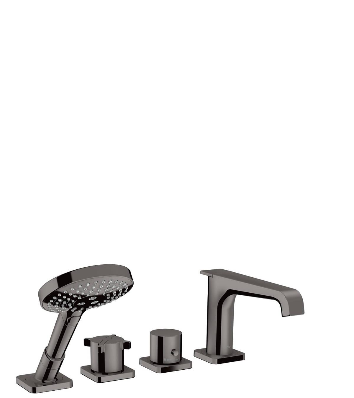 Grifería termostática de 4 agujeros para montaje sobre borde de bañera, cromo negro pulido, 36411330