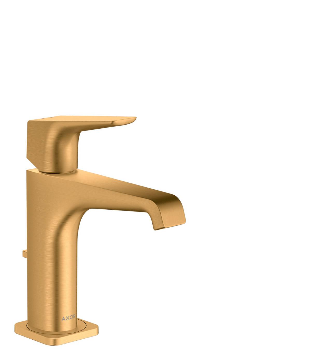 Mezclador monomando de lavabo 130 con manecilla y vaciador automático, color oro cepillado, 36110250