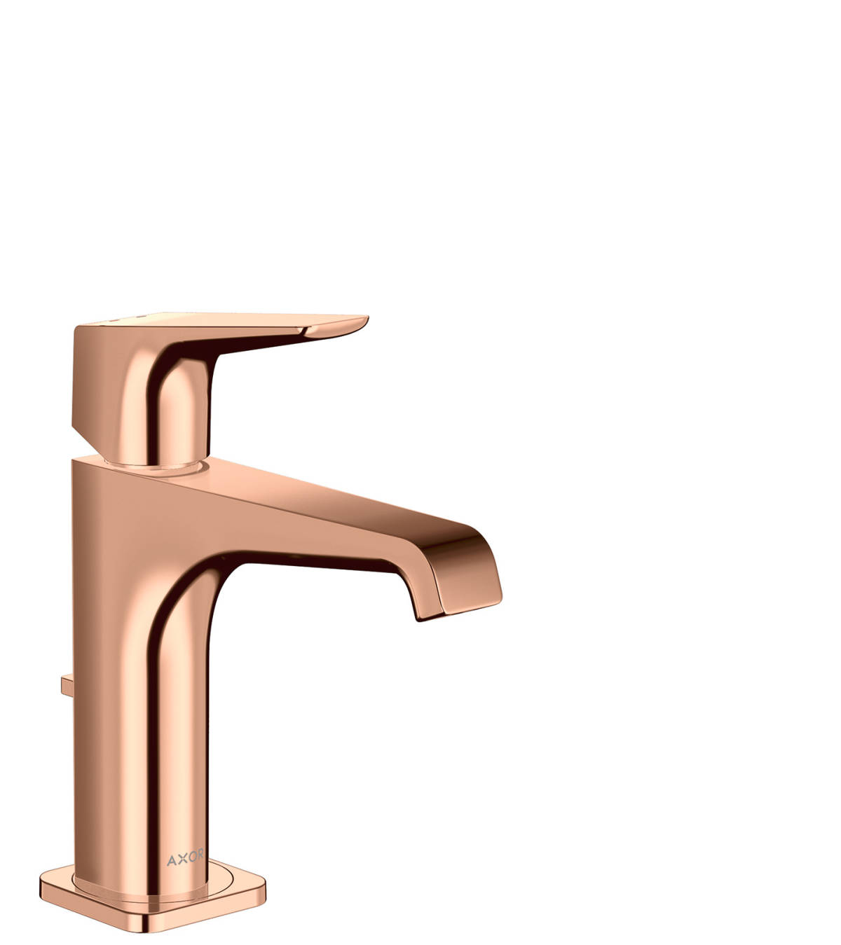 Mezclador monomando de lavabo 130 con manecilla y vaciador automático, color oro rojo pulido, 36110300