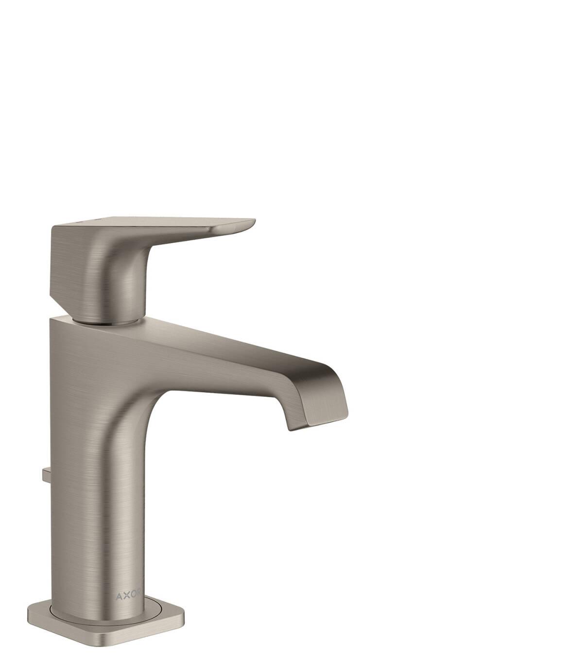 Mezclador monomando de lavabo 130 con manecilla y vaciador automático, color acero, 36110800