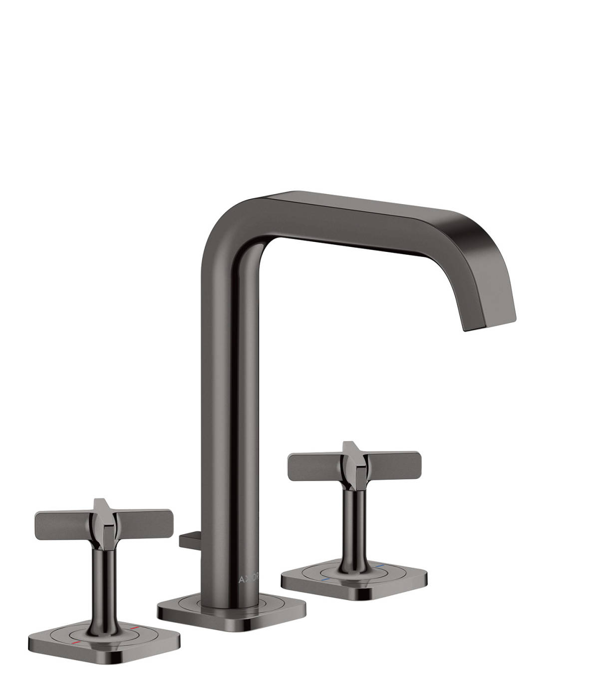 3-hole basin mixer 170 with escutcheons and pop-up waste set, Polished Black Chrome, 36108330