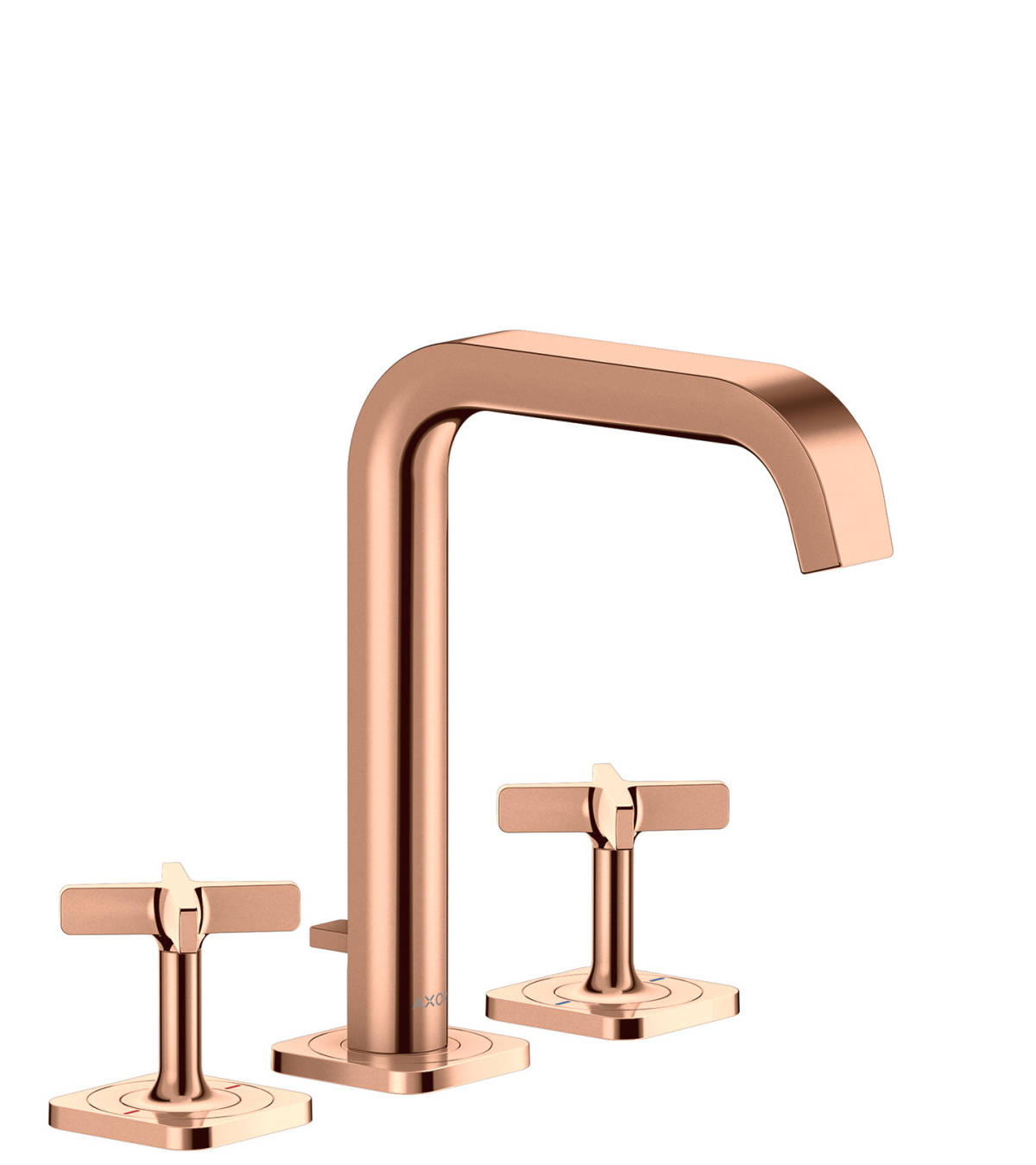 3-hole basin mixer 170 with escutcheons and pop-up waste set, Polished Red Gold, 36108300
