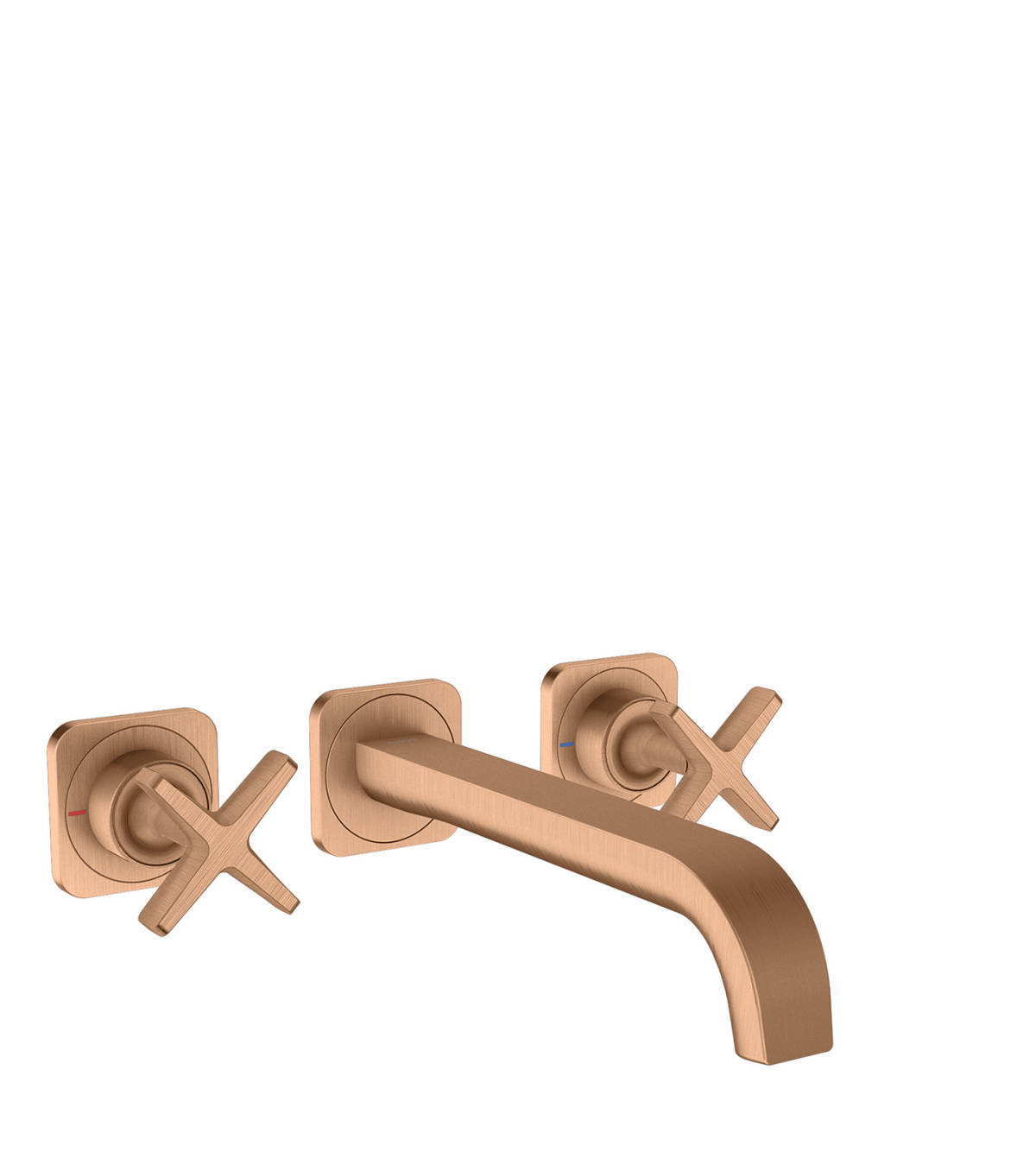 3-hole basin mixer for concealed installation wall-mounted with spout 220 mm and escutcheons, Brushed Bronze, 36107140