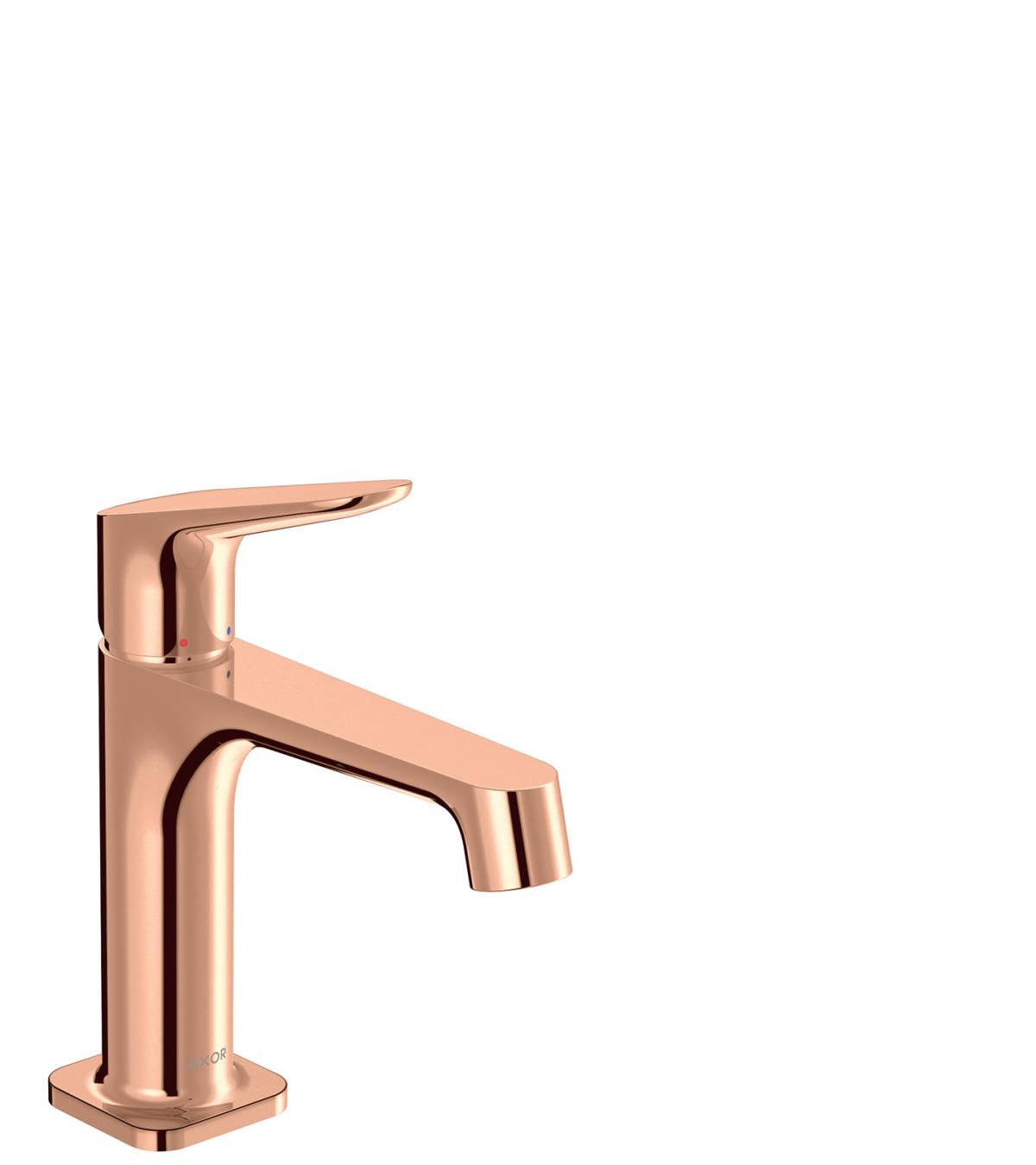 Mezclador monomando de lavabo 100 con vaciador, color oro rojo pulido, 34017300