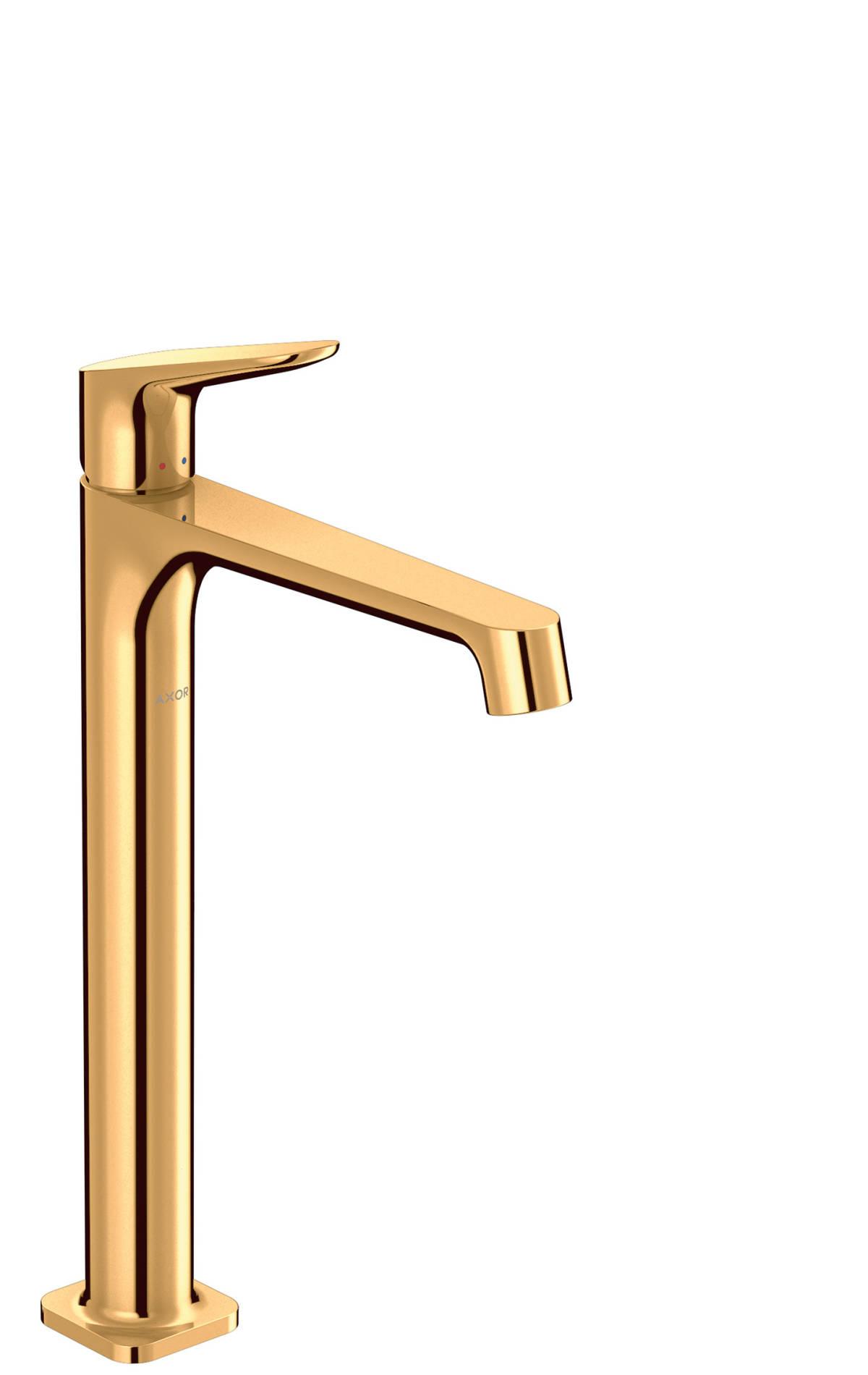 Mezclador monomando de lavabo 250 con vaciador, color oro pulido, 34127990