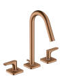 3-hole basin mixer 160 with pop-up waste set, lever handles and escutcheons
