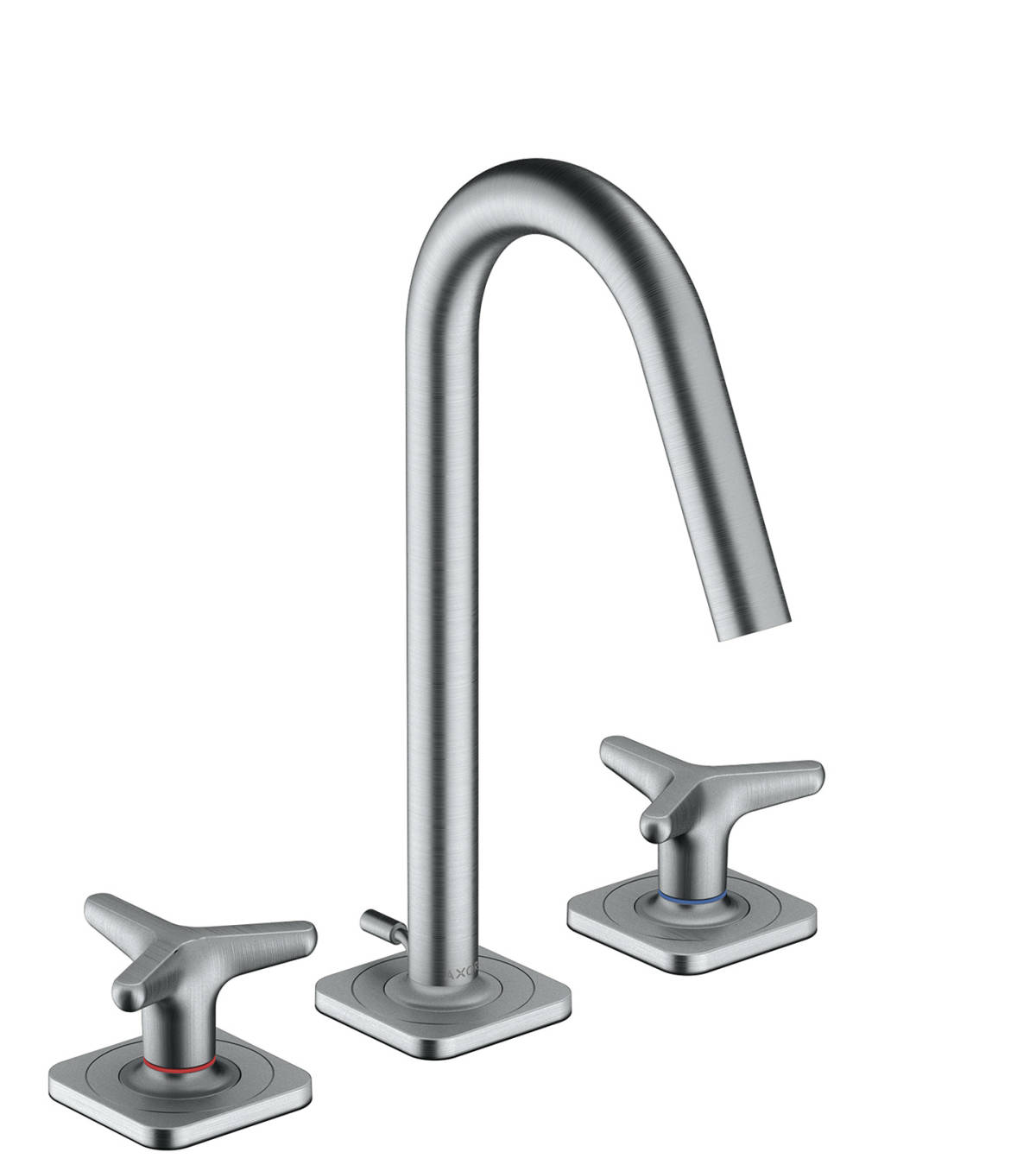 3-hole basin mixer 160 with star handles, escutcheons and pop-up waste set, Brushed Chrome, 34135260