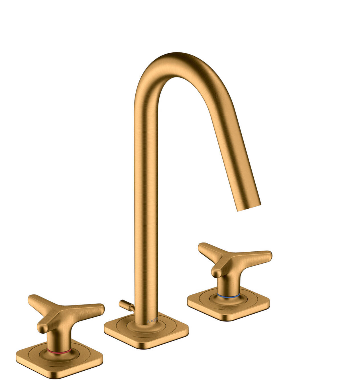 3-hole basin mixer 160 with star handles, escutcheons and pop-up waste set, Brushed Gold Optic, 34135250