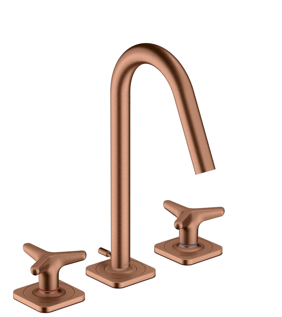 3-hole basin mixer 160 with star handles, escutcheons and pop-up waste set, Brushed Red Gold, 34135310