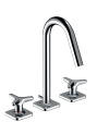 3-hole basin mixer 160 with star handles, escutcheons and pop-up waste set