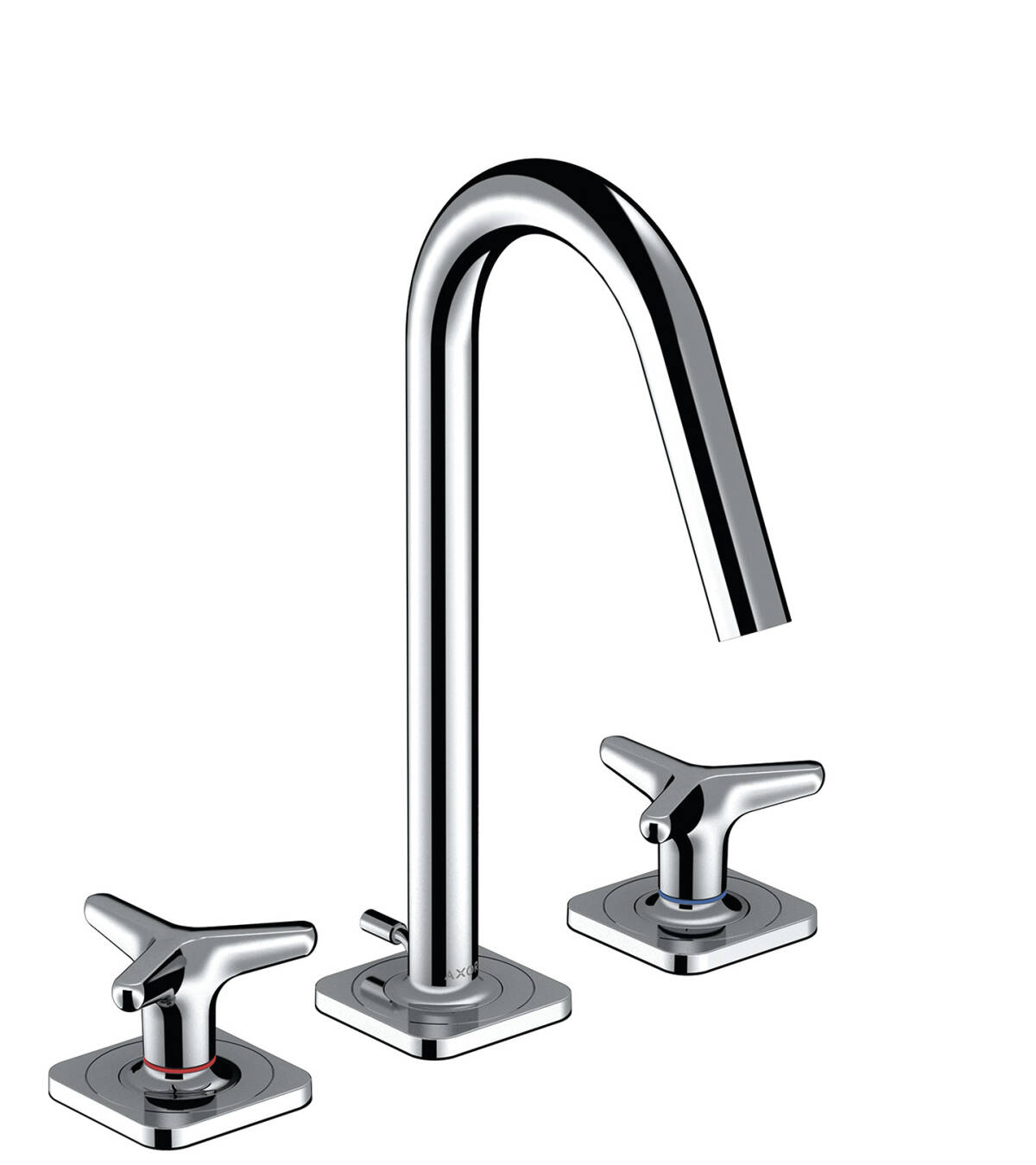 3-hole basin mixer 160 with star handles, escutcheons and pop-up waste set, Polished Chrome, 34135020