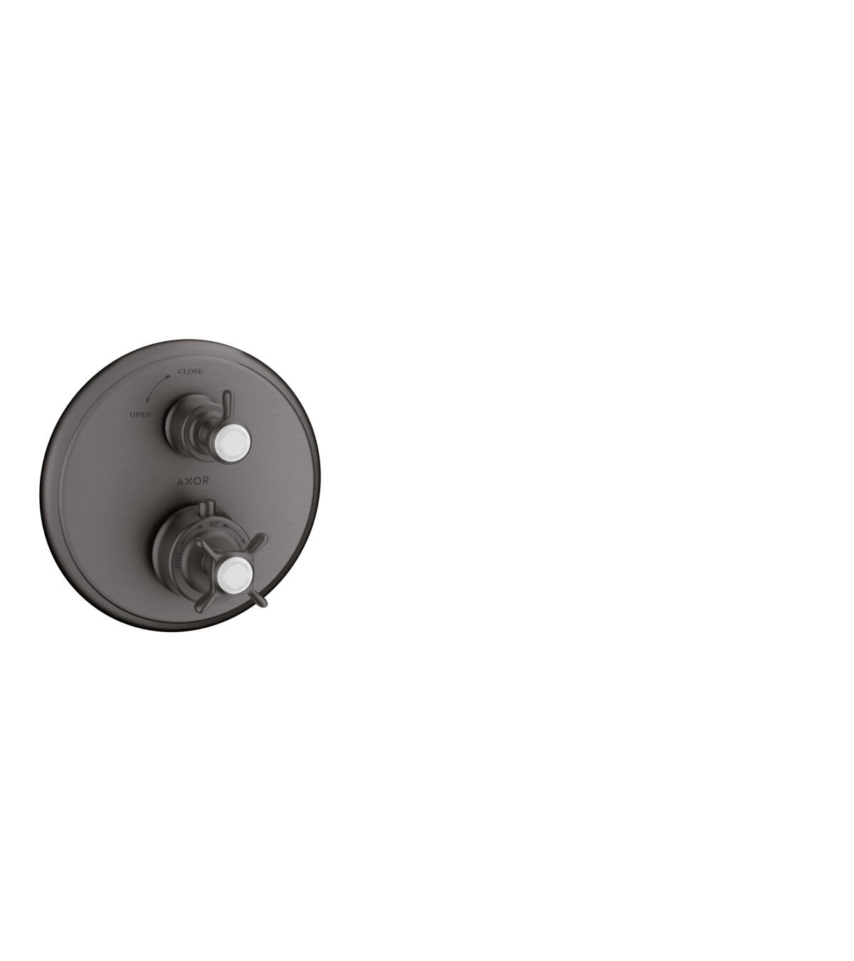 Thermostat for concealed installation with cross handle and shut-off valve, Brushed Black Chrome, 16800340
