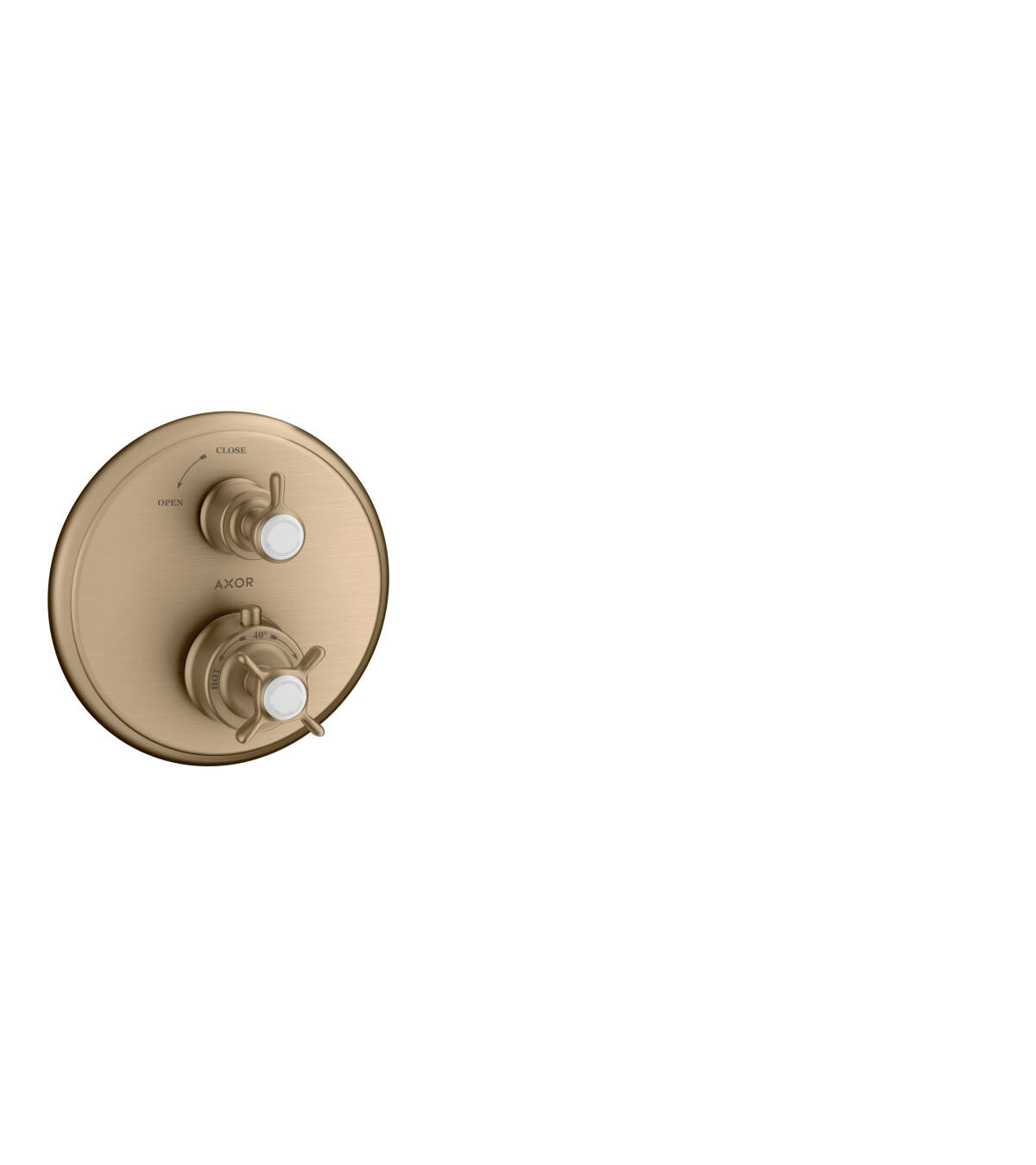 Thermostat for concealed installation with cross handle and shut-off valve, Brushed Bronze, 16800140
