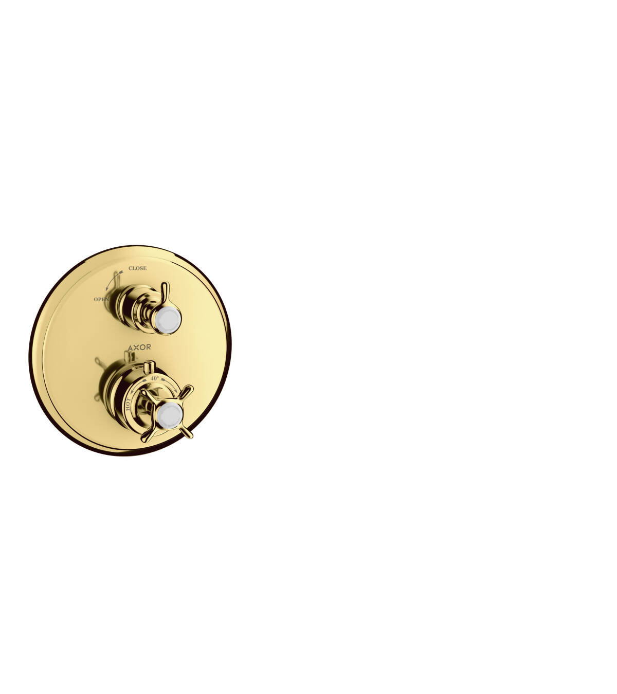 Thermostat for concealed installation with cross handle and shut-off valve, Polished Gold Optic, 16800990