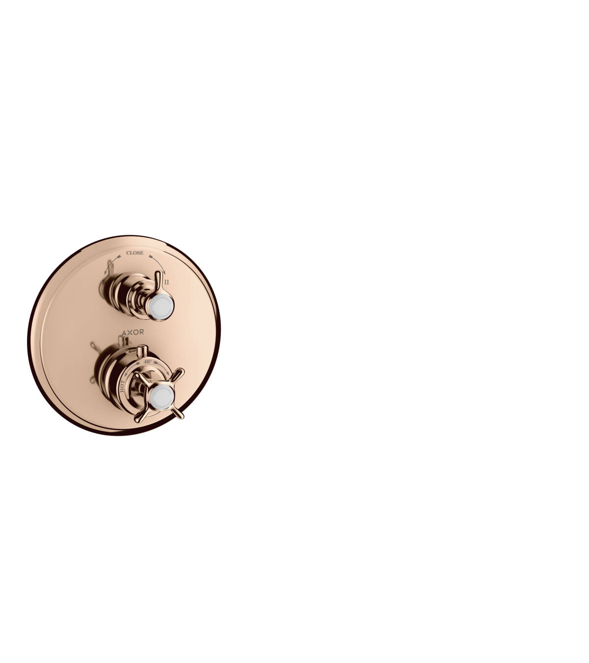 Thermostat for concealed installation with cross handle and shut-off/ diverter valve, Polished Red Gold, 16820300