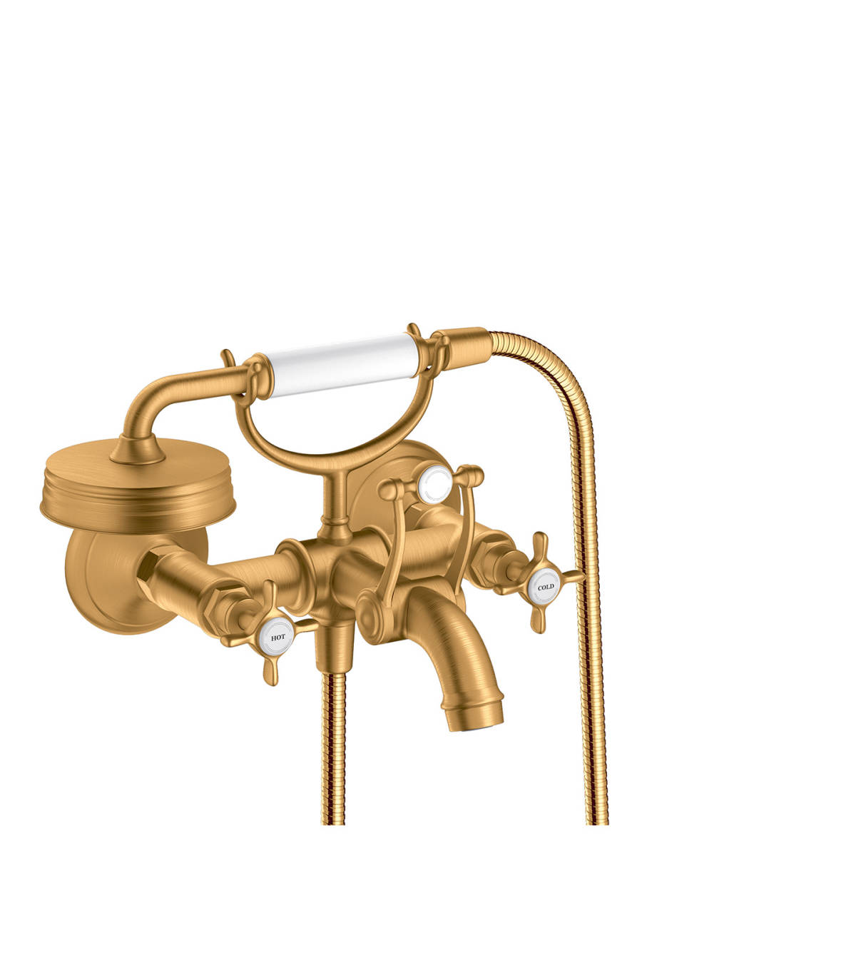 2-handle bath mixer for exposed installation with cross handles, Brushed Gold Optic, 16540250