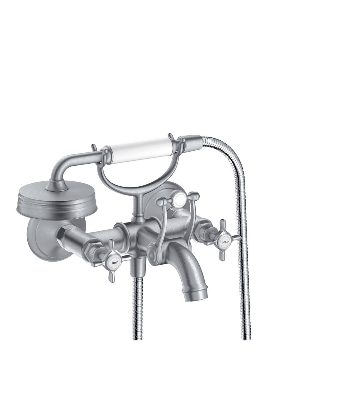 2-handle bath mixer for exposed installation with cross handles, Brushed Chrome, 16540260