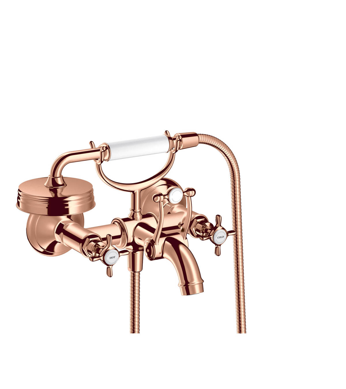 2-handle bath mixer for exposed installation with cross handles, Polished Red Gold, 16540300