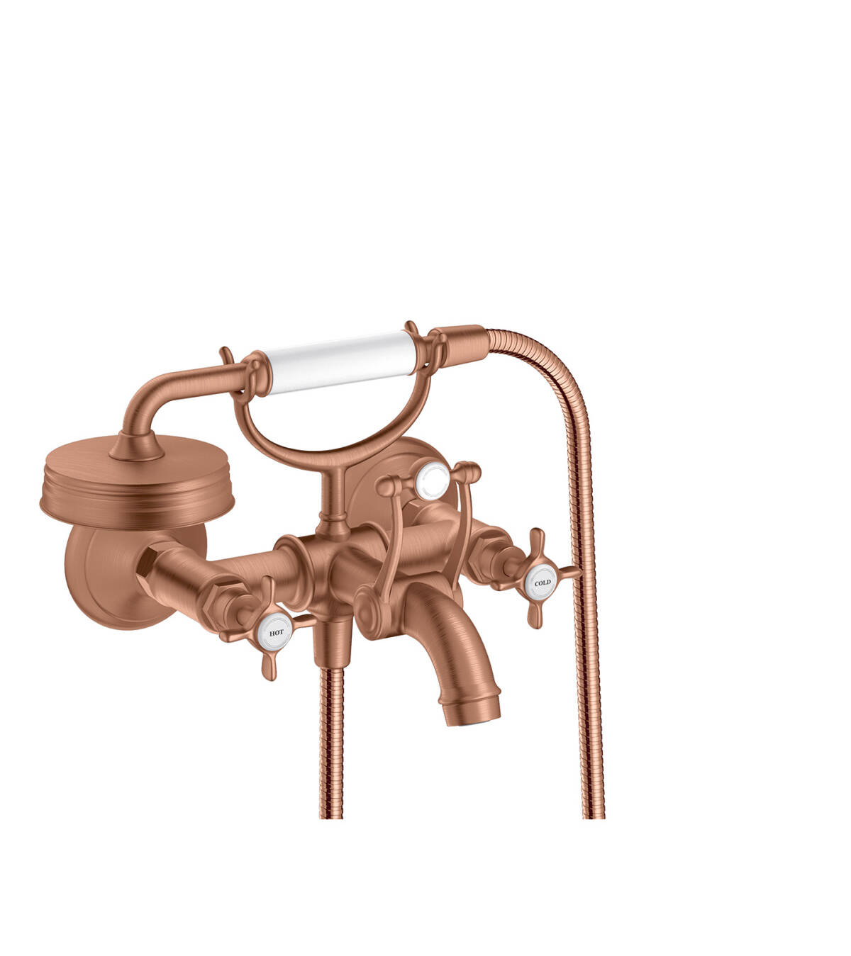 2-handle bath mixer for exposed installation with cross handles, Brushed Red Gold, 16540310
