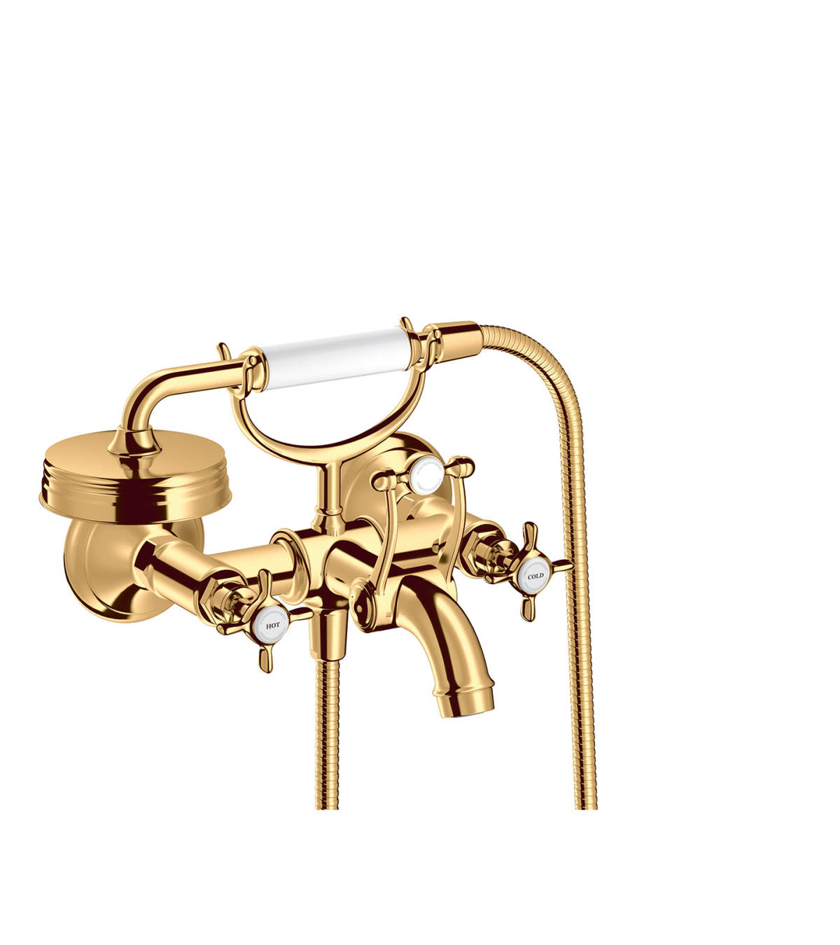 2-handle bath mixer for exposed installation with cross handles, Polished Brass, 16540930