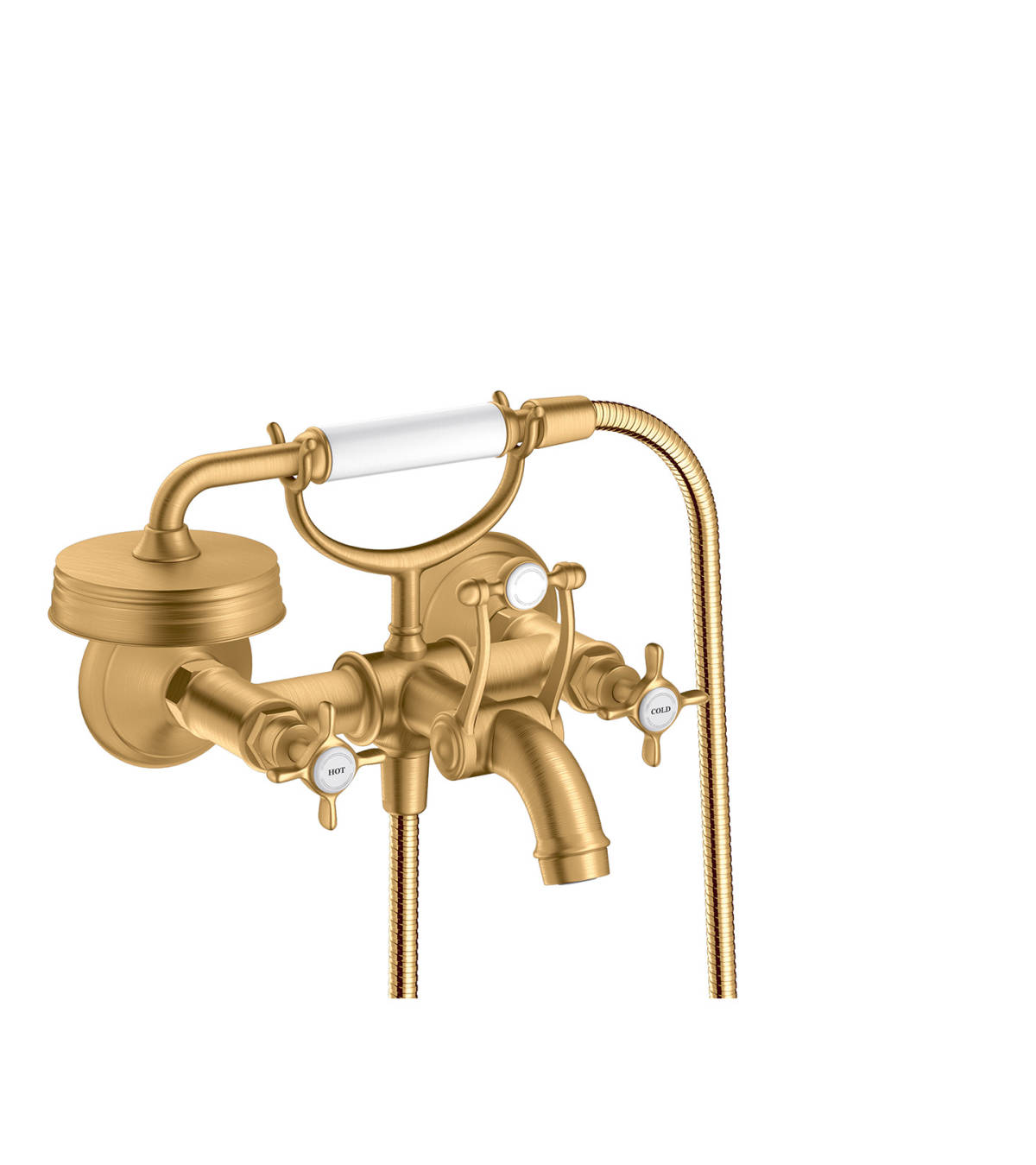 2-handle bath mixer for exposed installation with cross handles, Brushed Brass, 16540950