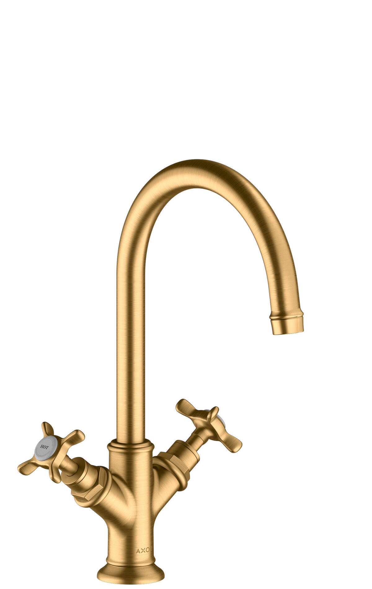 2-handle basin mixer 210 with cross handles and waste set, Brushed Brass, 16506950