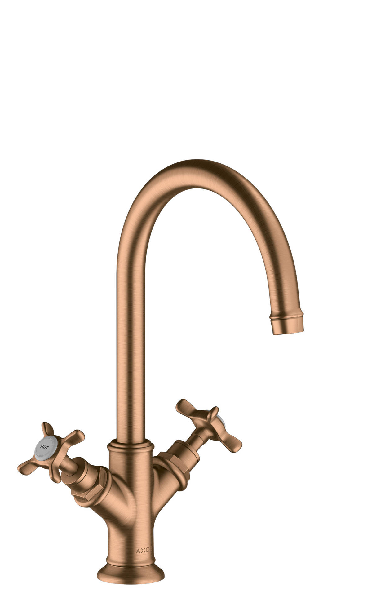 2-handle basin mixer 210 with cross handles and waste set, Brushed Bronze, 16506140