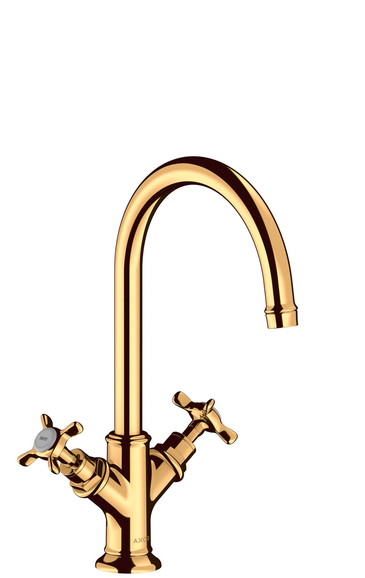 2-handle basin mixer 210 with cross handles and waste set, Polished Gold Optic, 16506990