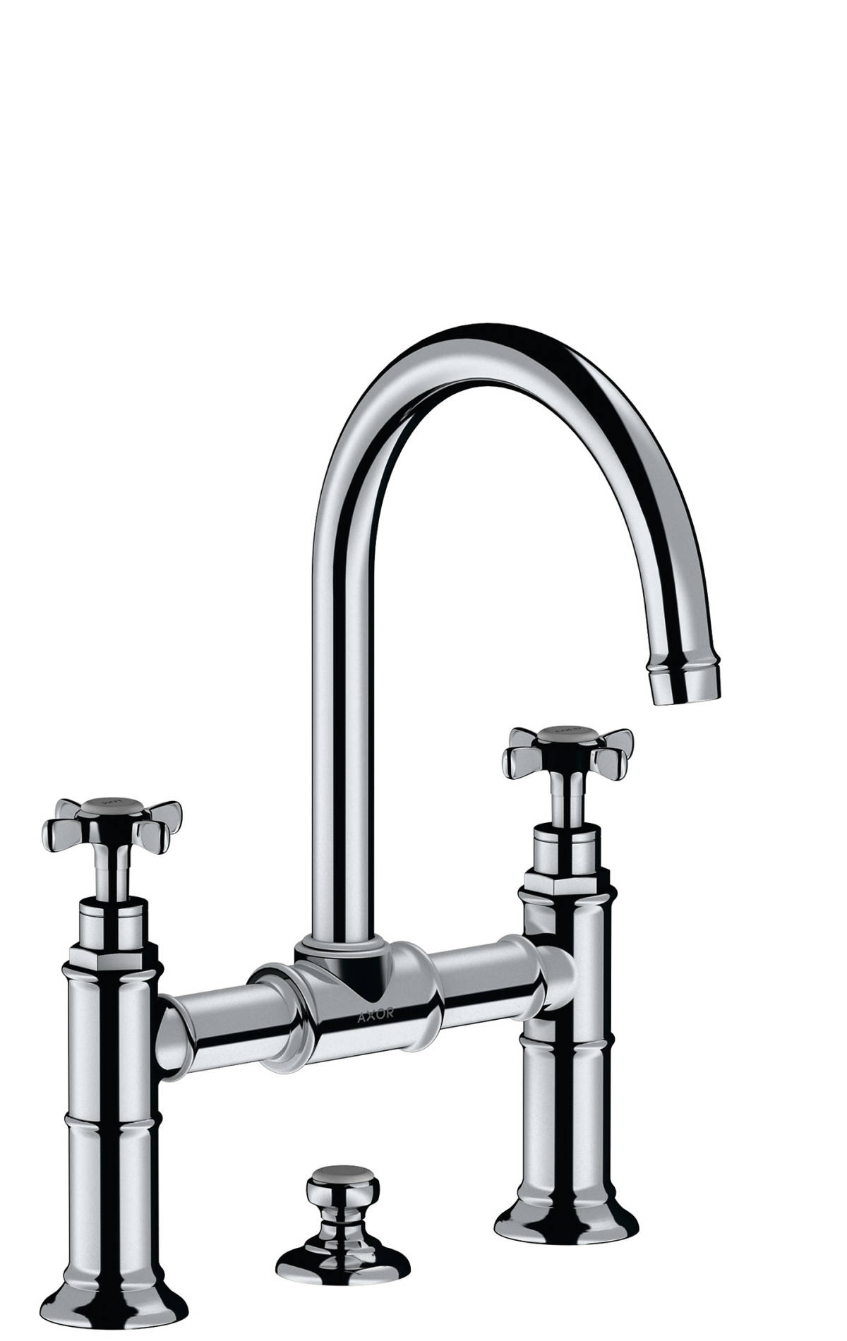 2-handle basin mixer 220 with cross handles and pop-up waste set, Polished Chrome, 16510020