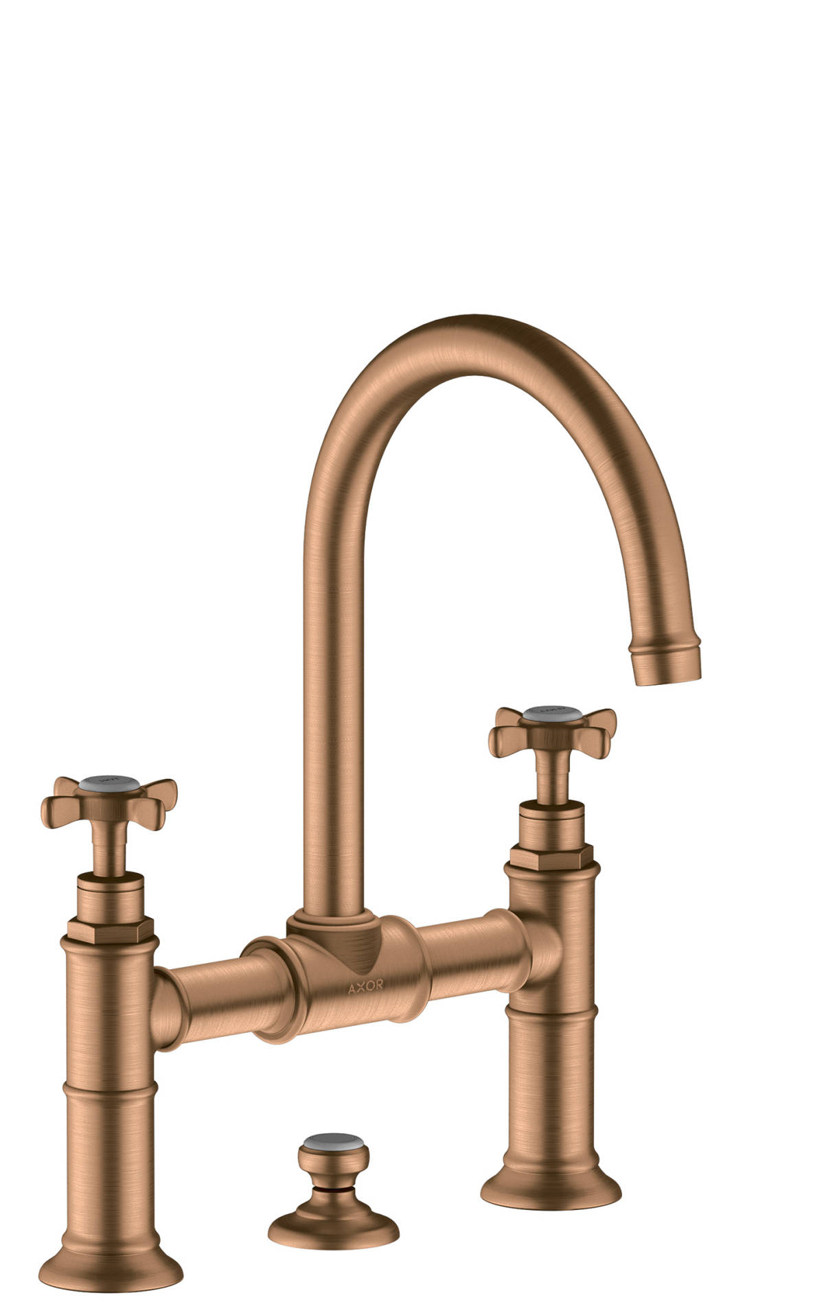 2-handle basin mixer 220 with cross handles and pop-up waste set, Brushed Bronze, 16510140