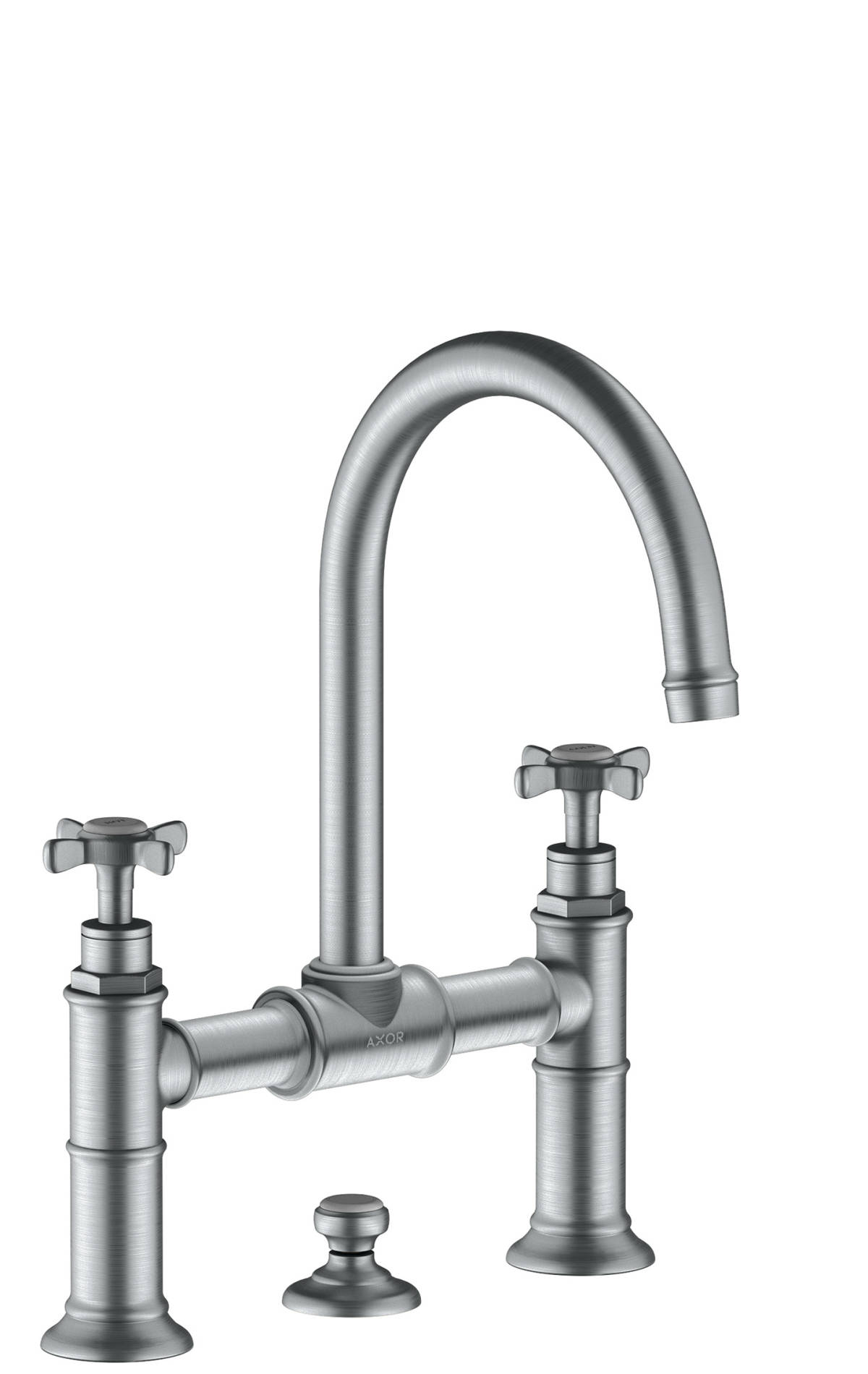 2-handle basin mixer 220 with cross handles and pop-up waste set, Brushed Chrome, 16510260