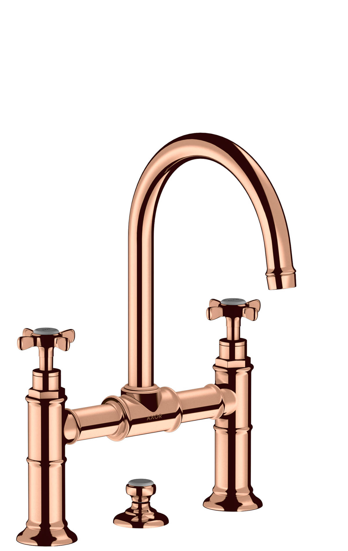 2-handle basin mixer 220 with cross handles and pop-up waste set, Polished Red Gold, 16510300