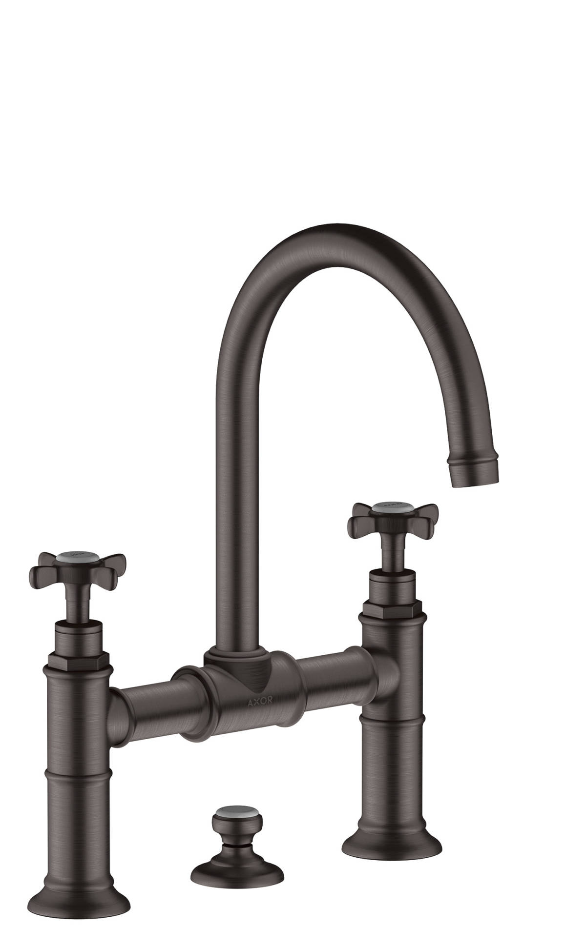 2-handle basin mixer 220 with cross handles and pop-up waste set, Brushed Black Chrome, 16510340