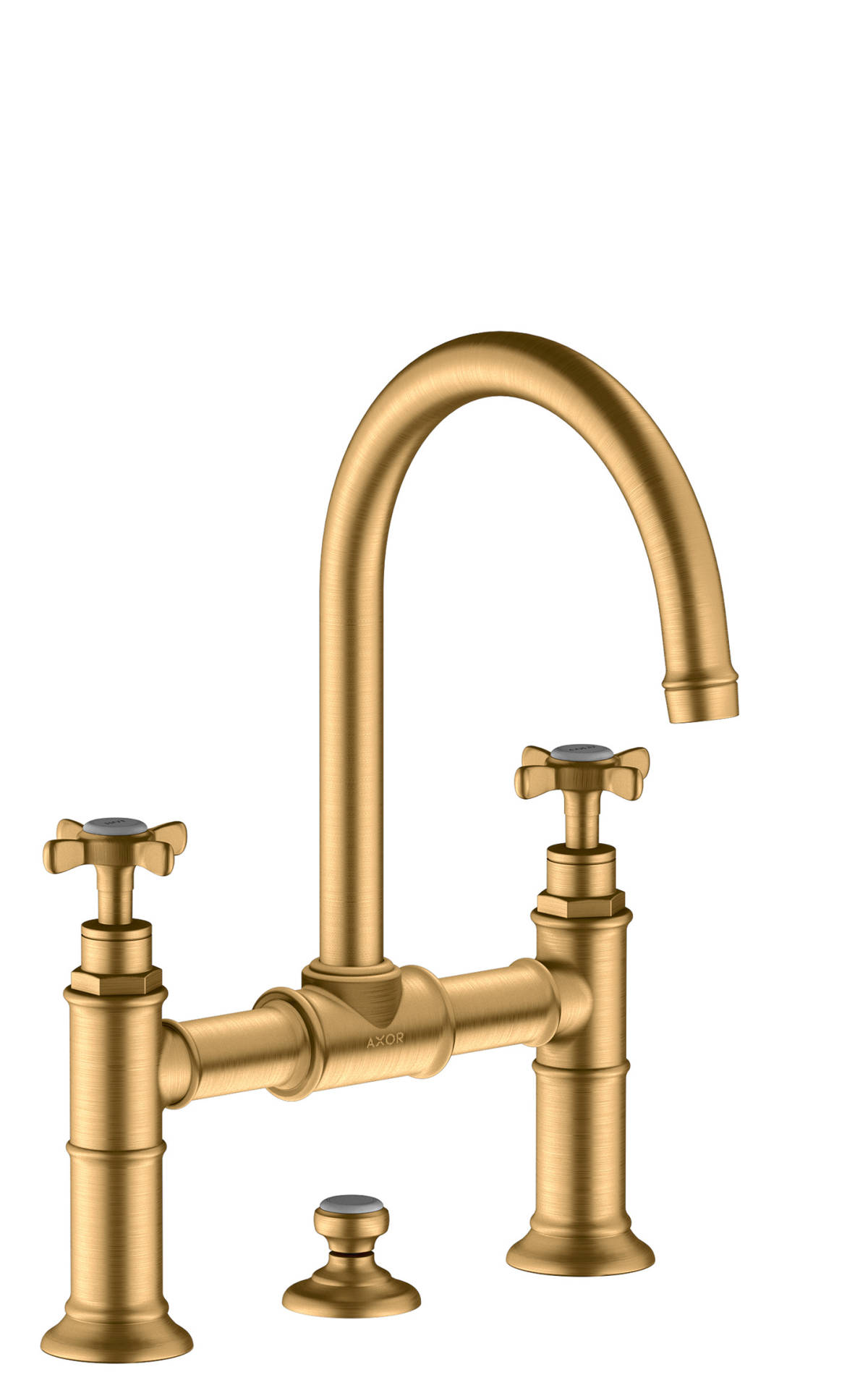 2-handle basin mixer 220 with cross handles and pop-up waste set, Brushed Brass, 16510950
