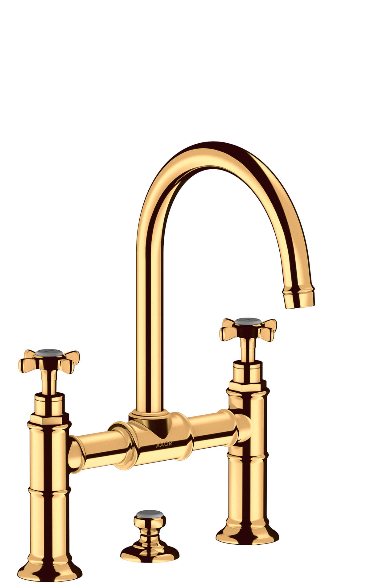 2-handle basin mixer 220 with cross handles and pop-up waste set, Polished Gold Optic, 16510990