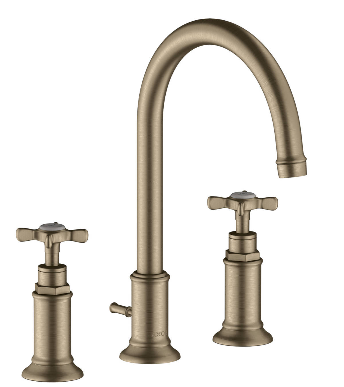 3-hole basin mixer 180 with cross handles and pop-up waste set, Brushed Nickel, 16513820